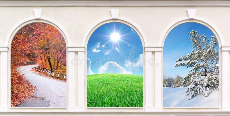 Windows of seasons stock photos