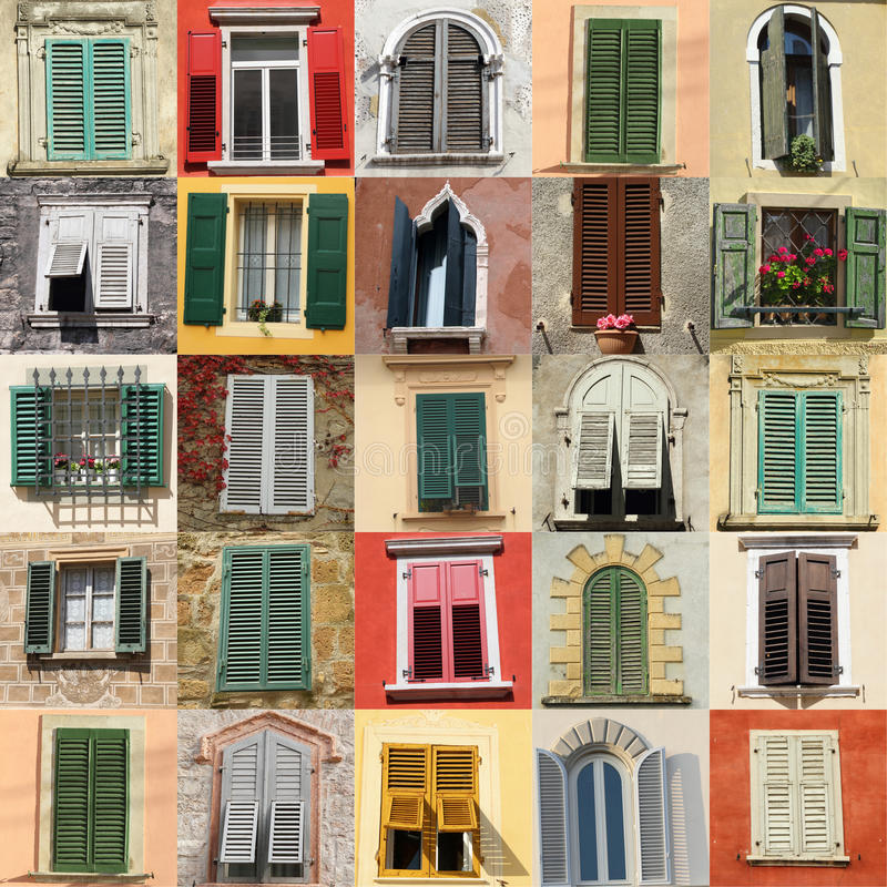 Windows with shutters. Collection of windows with shutters from Italy stock photos