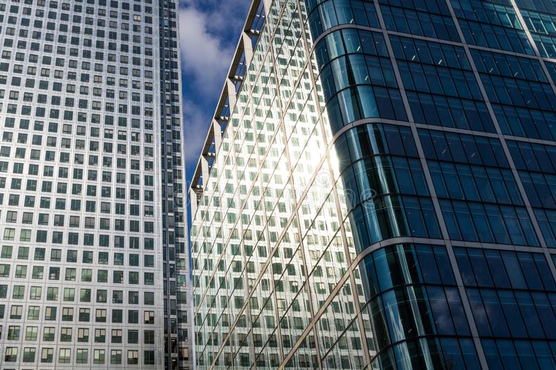 Windows of Skyscraper Business Office, Corporate building in London City, England, UK stock images