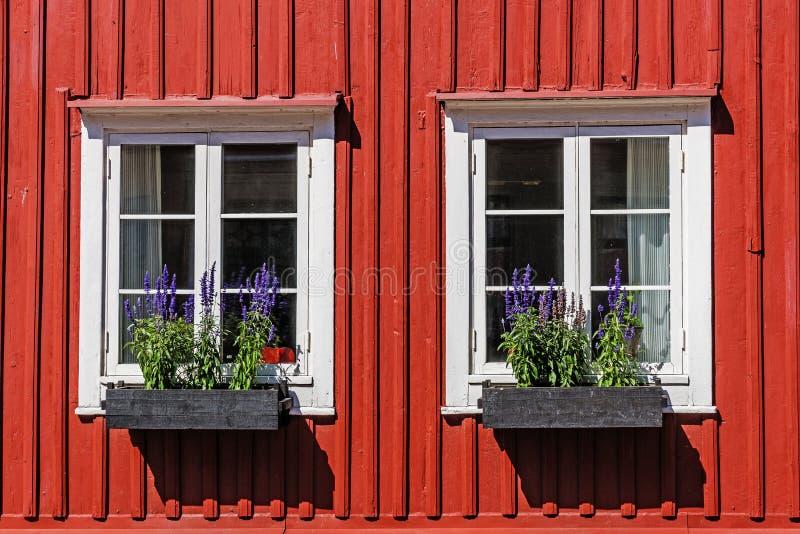 Windows sur une façade en bois image libre de droits