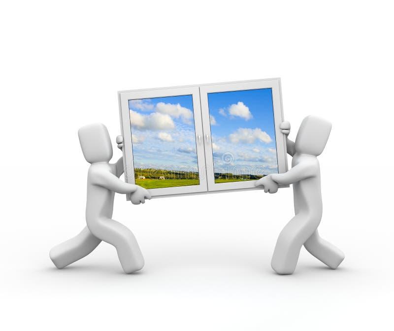 Windows to new season. Teamwork. Isolated stock illustration