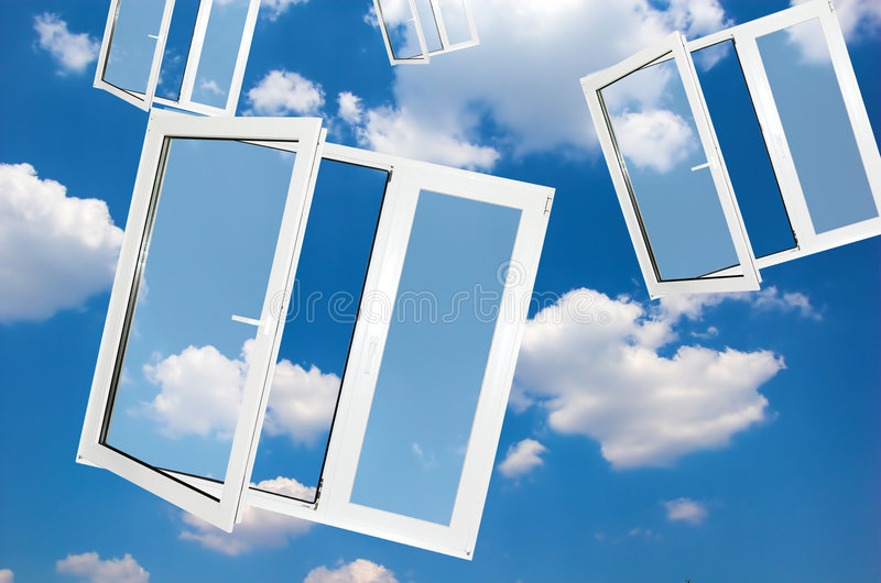 Windows to new world. Easy editable image royalty free stock photo