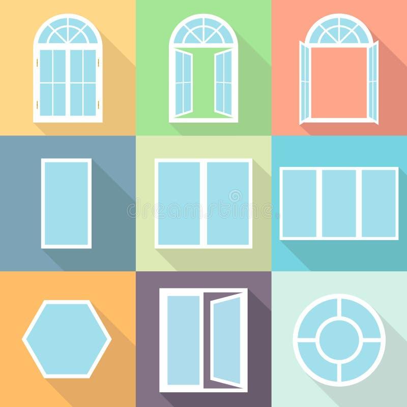 Windows, un ensemble de fenêtres réalistes avec une ombre Fenêtre fermée et ouverte illustration de vecteur