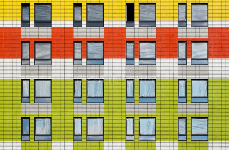 Windows of under construction high-rise building stock photo