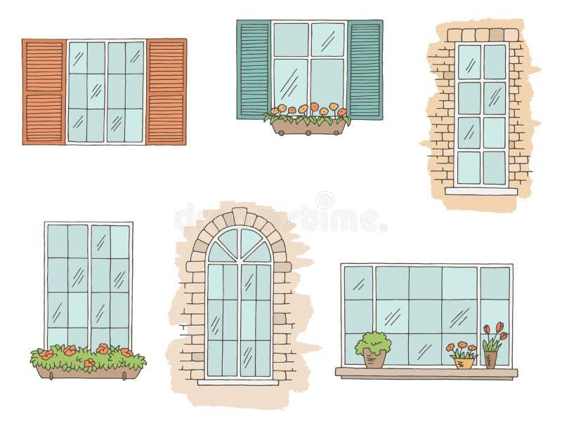 Windows ustalony graficzny kolor odizolowywał nakreślenie ilustracji wektor royalty ilustracja
