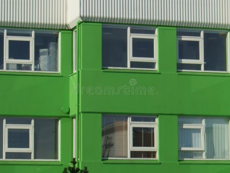 Windows verde moderno di Reykjavik, Islanda fotografia stock
