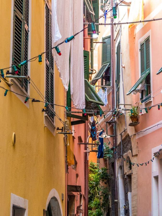Windows in Vernazza, Cinque Terre stock photo