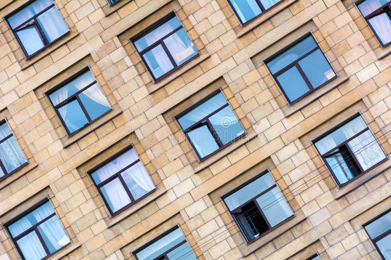 Windows in very old building photo. Saint Petersburg royalty free stock photography