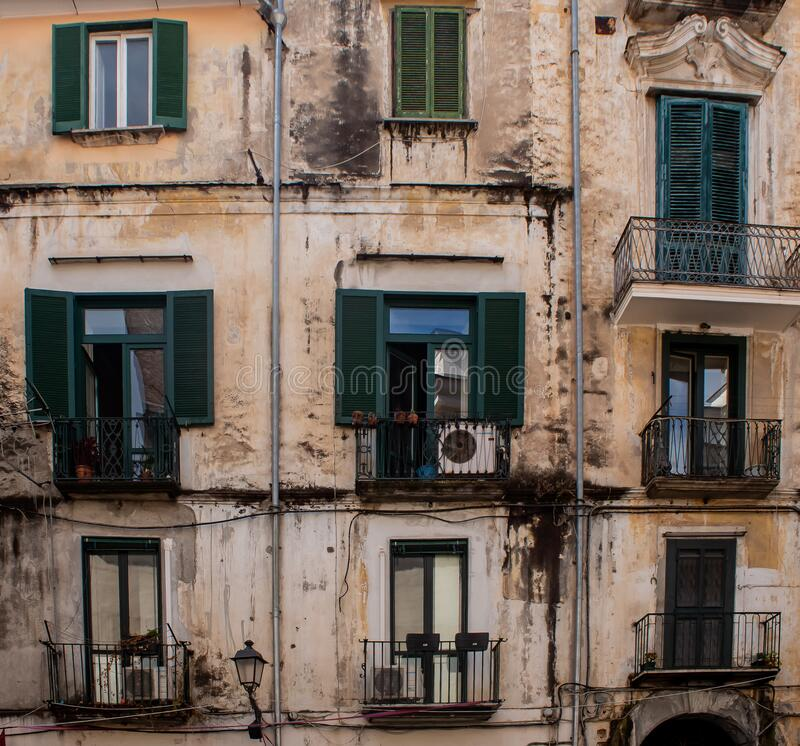 Windows wall house Salerno royalty free stock photos