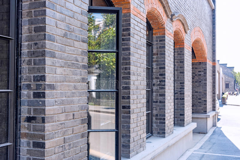 Windows and wall. This photo was taken in laomendong old street, Nanjing city, Jiangsu province, china stock photo