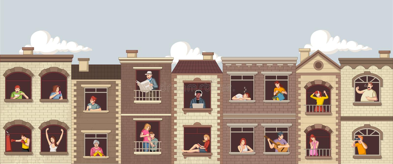 Windows z kreskówek ludźmi ilustracji