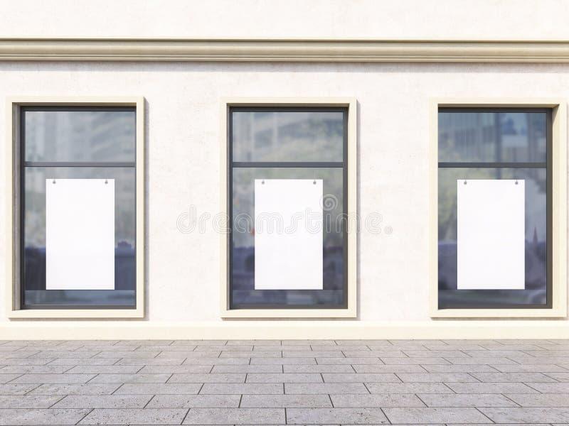 Windows z plakatami ilustracja wektor