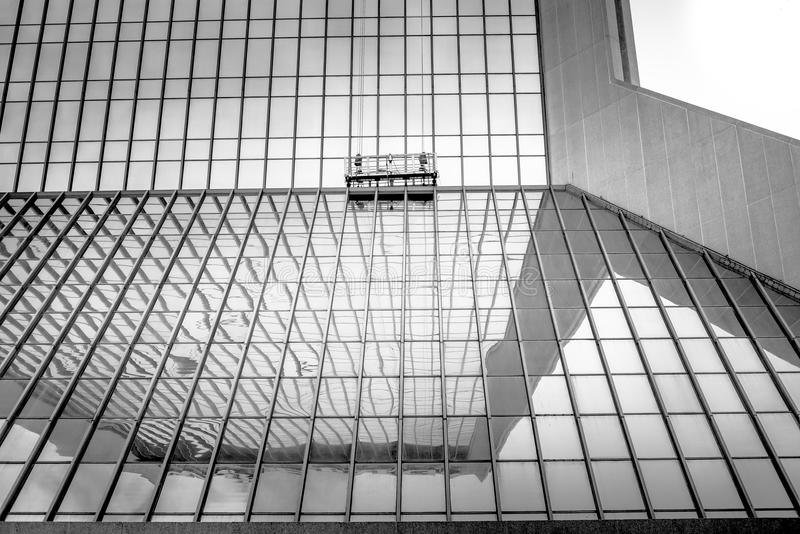 Windowwasher. An abstract architectural photo of a building in Jacksonville royalty free stock photo