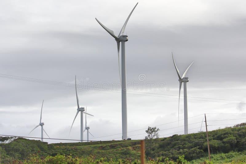 Windpark auf der hawaiischen Landschaft stockfotografie