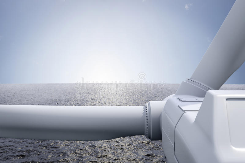 Windpark med hav stock illustrationer