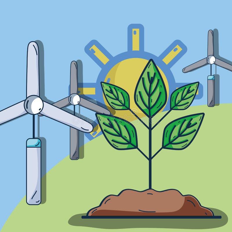 Windpower με τις εγκαταστάσεις στο βουνό και τον ήλιο ελεύθερη απεικόνιση δικαιώματος