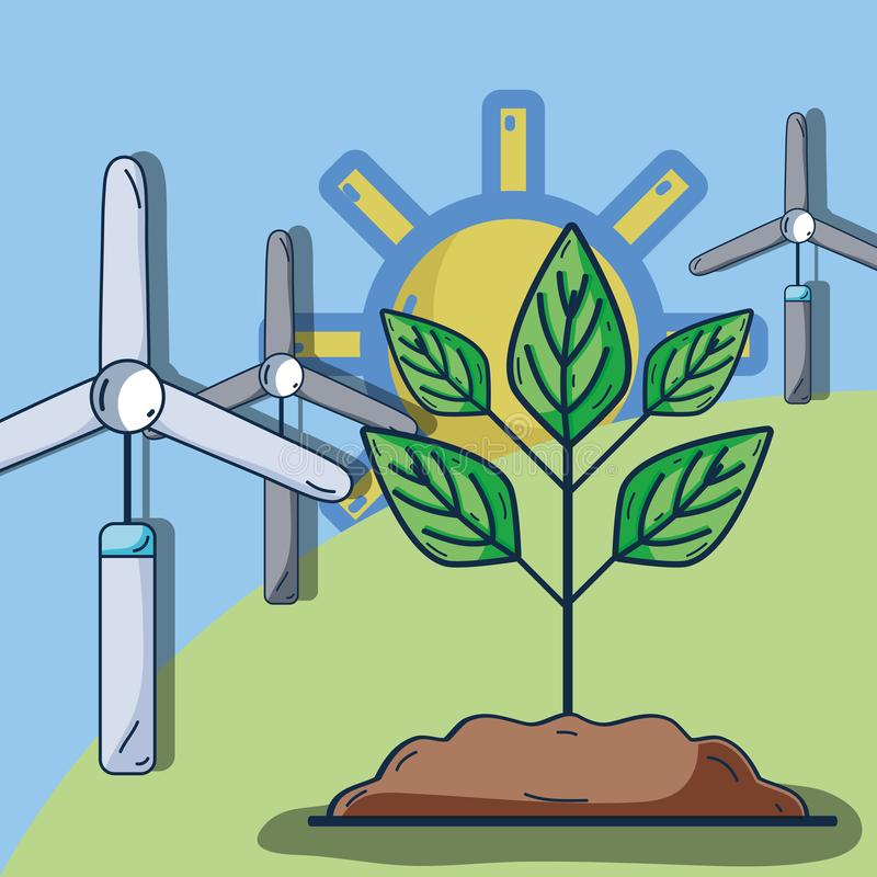Windpower com a planta na montanha e no sol ilustração royalty free