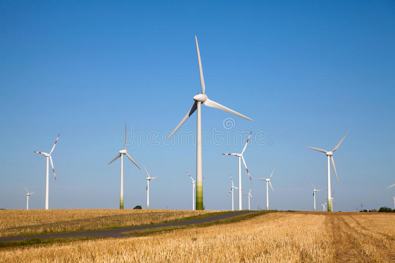 Windpower Green Technology. Windpower park, to produce clean energy with modern green technology stock photos