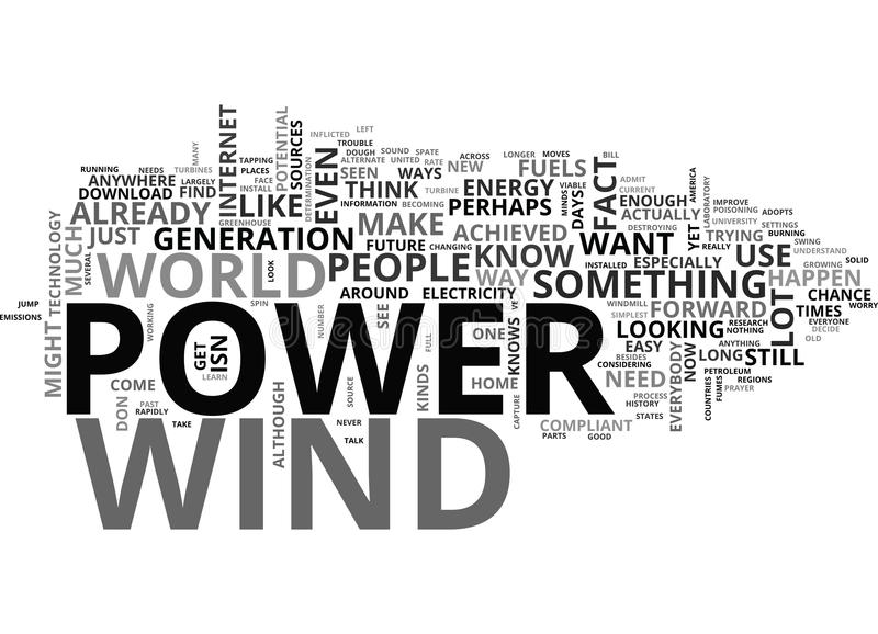 Windpowerword moln stock illustrationer