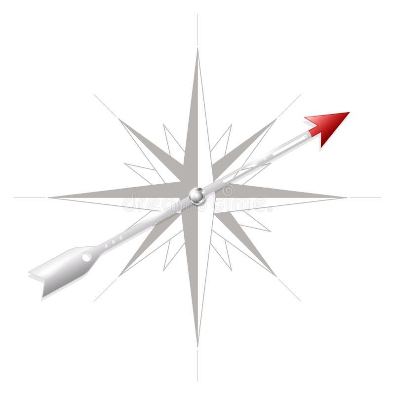 Windroos met metaalpijl royalty-vrije illustratie