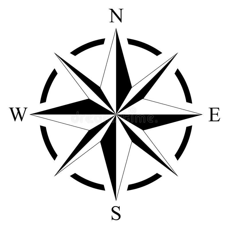 Windroos voor mariene of zeevaartnavigatie en kaarten op een geïsoleerde witte achtergrond als vector royalty-vrije illustratie