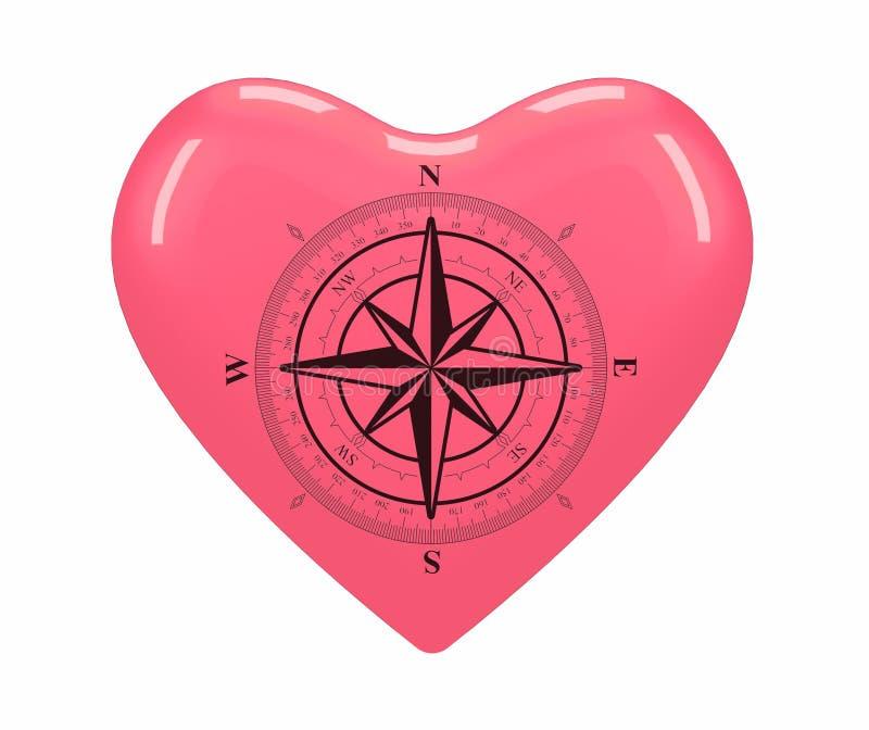 WINDROSE είναι τοποθετημένο στο κέντρο της κόκκινης καρδιάς στοκ εικόνες