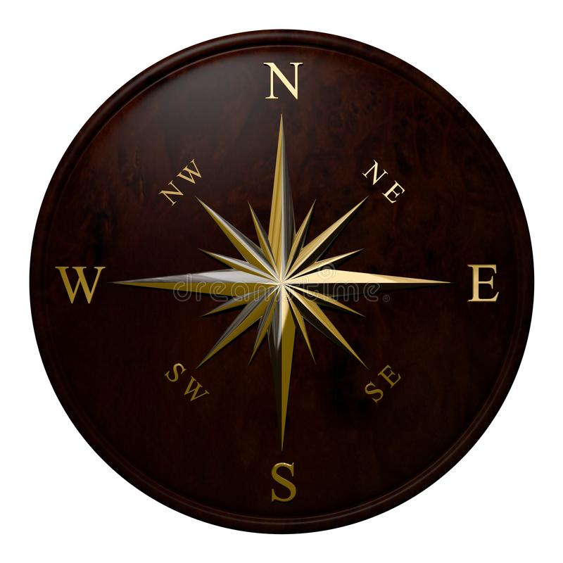 Windrose. Brass compass windrose in marine style on a wooden disk stock illustration