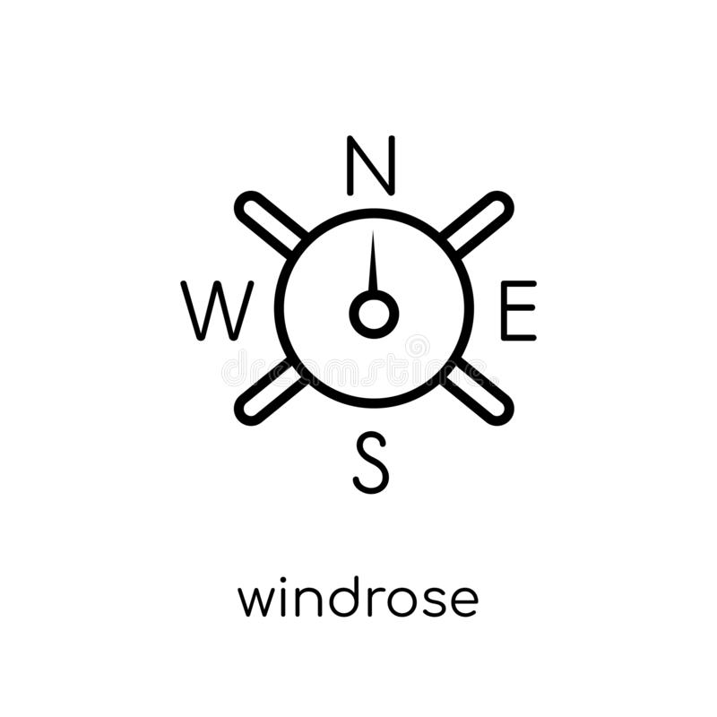 windrose icon. Trendy modern flat linear vector windrose icon on vector illustration