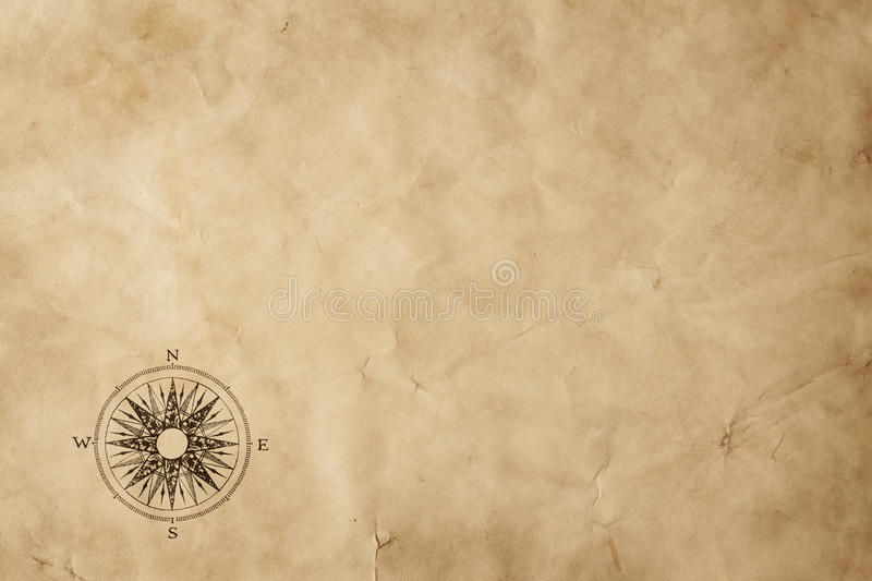 Windrose on old grunge paper with copy space royalty free stock image