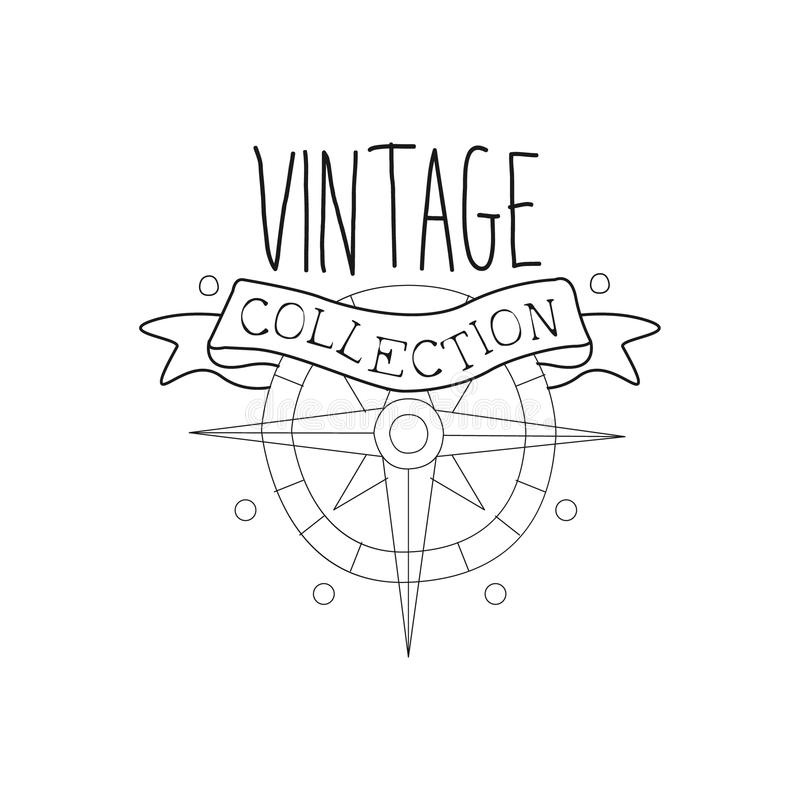 Windrose And Ribbon Vintage Sea And Nautical Symbol Hand Drawn Sketch Label Template. Part Of Marine Emblem Collection Of Artistic Retro Vector Illustrations stock illustration