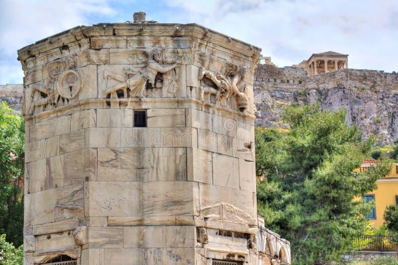 winds för athens greece horologiontorn fotografering för bildbyråer