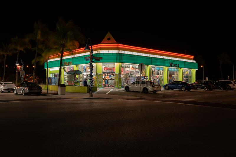 Winds Family Beachwear store and shop on Old San Carlos Blvd & Estero Blvd in Fort Myers Beach. This is a night shot royalty free stock images