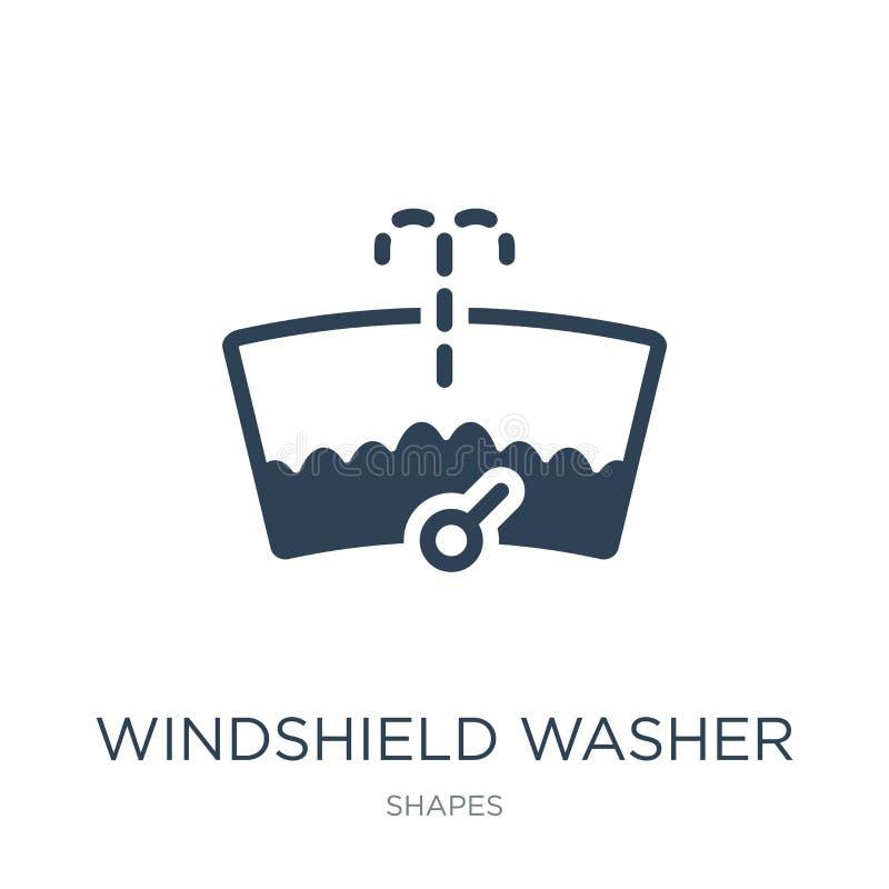Windschutzscheibenwaschmaschinenikone in der modischen Entwurfsart Windschutzscheibenwaschmaschinenikone lokalisiert auf weißem H lizenzfreie abbildung