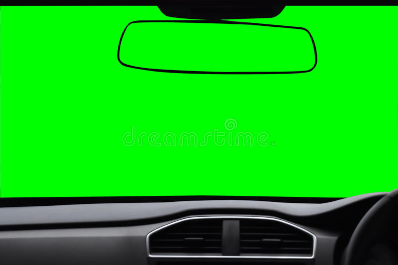 Windshield and rearview mirror ,View inside the car with green s stock photo