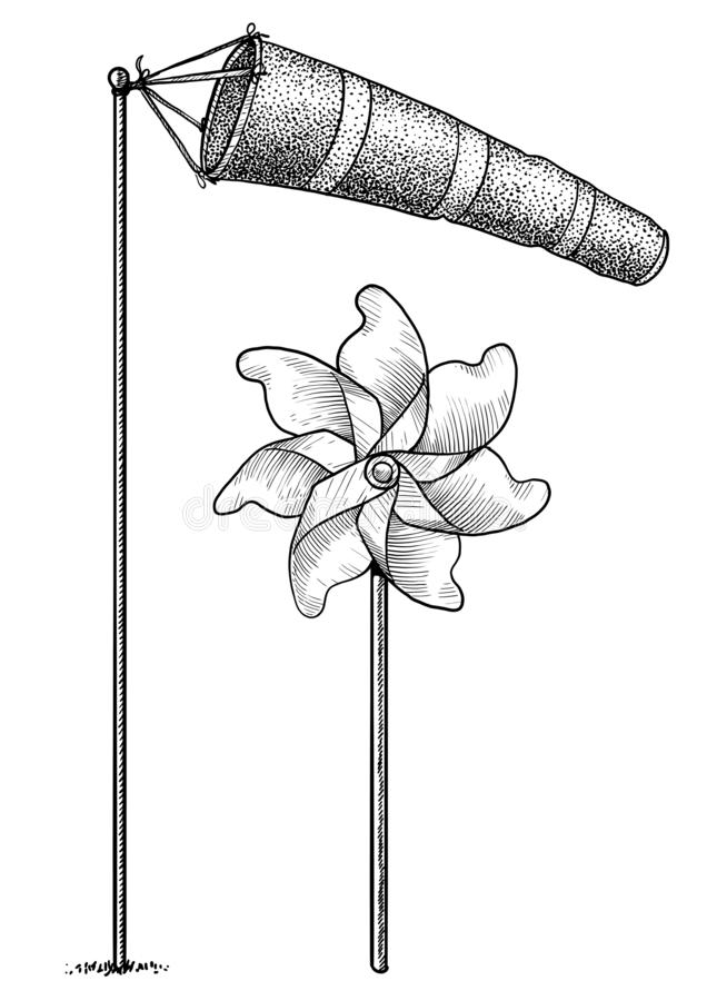 Windsock and pinwheel illustration, drawing, engraving, ink, line art, vector. Illustration, what made by ink and pencil on paper, then it was digitalized stock illustration