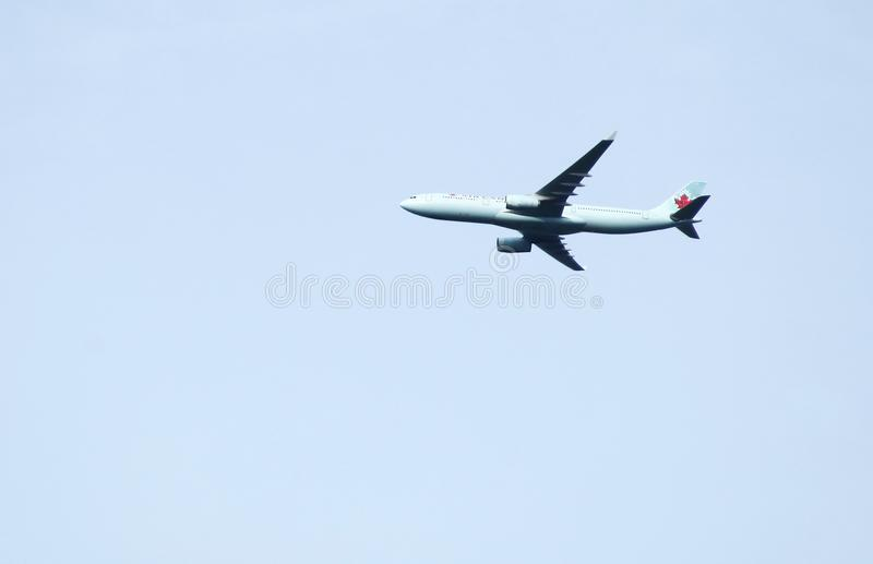 Plane on sky scene. stock images
