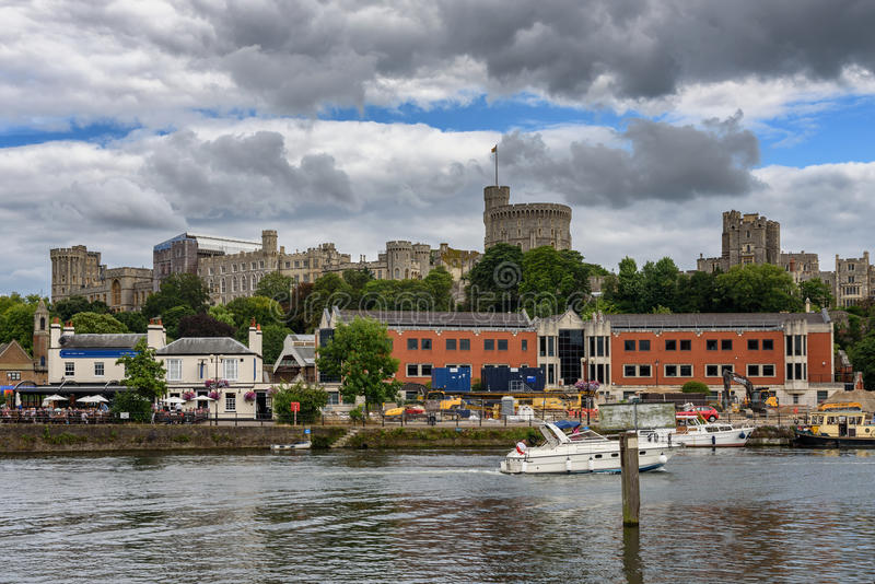 Windsor, Berkshire, England UK. The skyline of Windsor Town across river Thames in Berkshire county, England stock photo