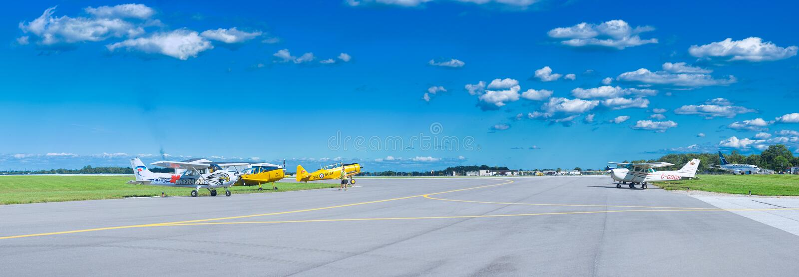 WINDSOR, CANADA - SEPT 10, 2016: Panoramic view of canadian jet. Aircrafts in exhibit at the Windsor Aviation Museum, taken in Windsor, Ontario stock photos