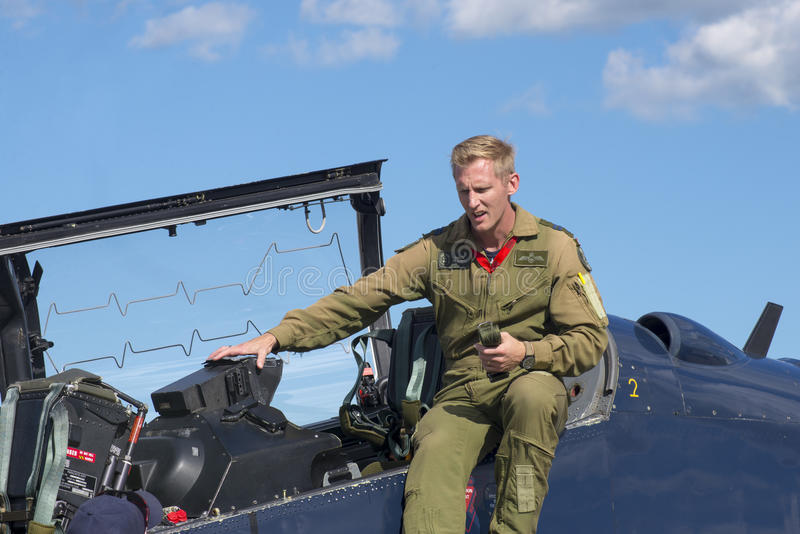 WINDSOR, CANADA - SEPT 10, 2016: View of canadian military Jet a. Nd pilot in exhibit at the Windsor Aviation Museum stock photos