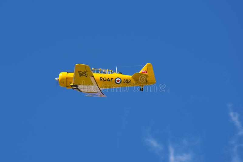 WINDSOR, CANADA - SEPT 10, 2016: View of vintage aircraft in flight at the Windsor Aviation Museum, taken in Windsor, Ontario. royalty free stock photo