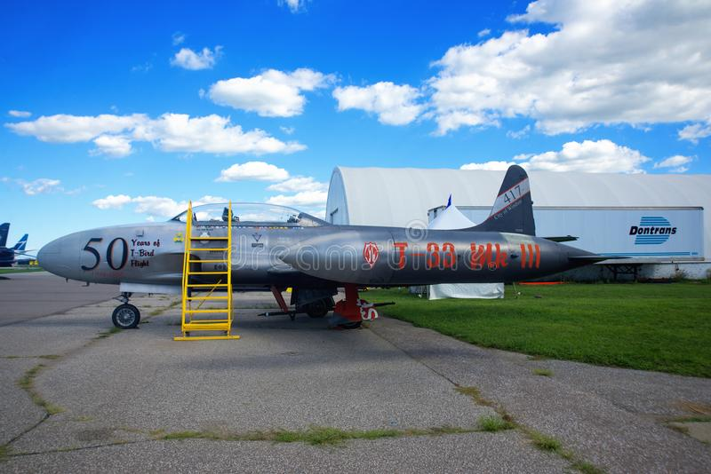 WINDSOR, CANADA - SEPT 10, 2016: View of vintage jet aircraft in. Exhibit at the Windsor Aviation Museum, taken in Windsor, Ontario royalty free stock photography
