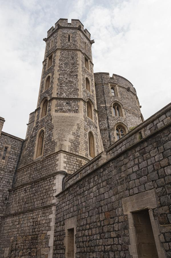 Windsor Castle, built in the 11th Century, is   the residence of the British Royal Family at Windsor in the English county stock photo