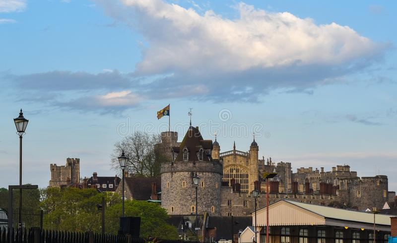 Windsor Castle from nearby Train Station. There will be many people flocking to the city of Windsor this week for the royal wedding of 2018. Prince Harry is to stock images