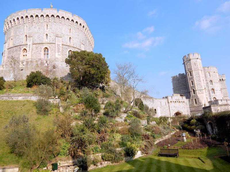 Royal palace Windsor Castle - Round Tower and Edward III tower - Windsor - England. Windsor Castle - Royal palace - Round Tower and Edward III tower with garden royalty free stock photos