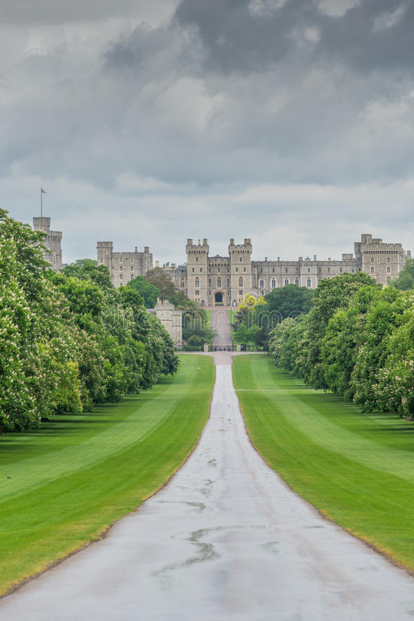 Windsor Castle, UK view from the long walk stock photos