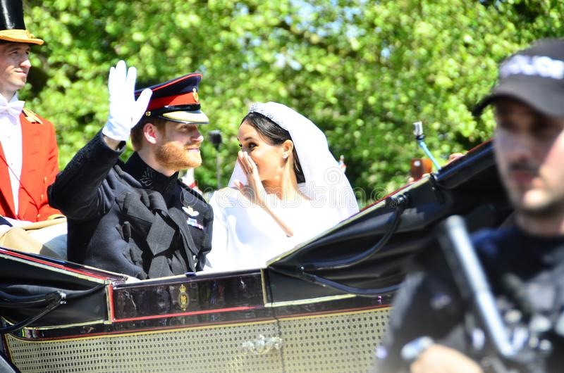 Windsor Castle United Kingdom Royal-Huwelijksprins Harry en Meghan Markle-May 19-2018 royalty-vrije stock foto
