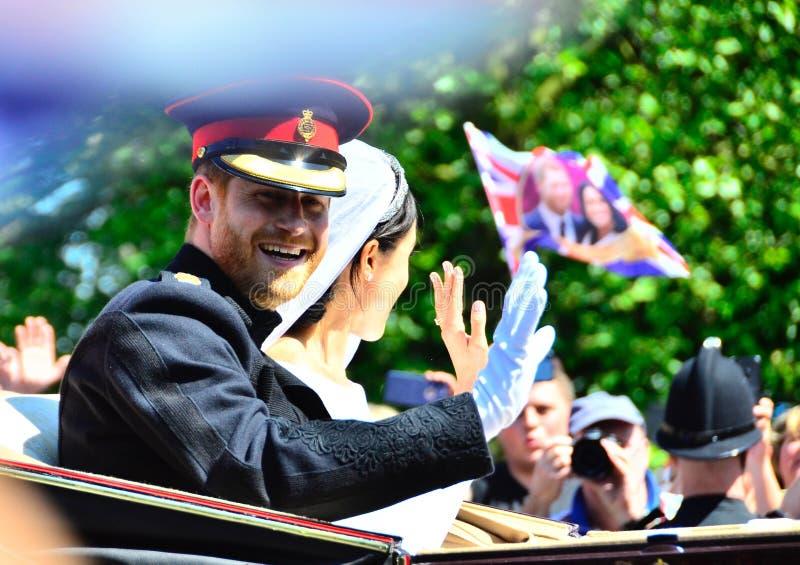Windsor Castle United Kingdom Royal-Huwelijksprins Harry en Meghan Markle-May 19-2018 royalty-vrije stock fotografie