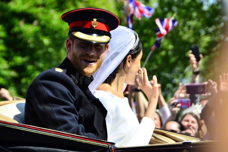 Windsor Castle United Kingdom Royal-Huwelijksprins Harry en Meghan Markle-May 19-2018 stock foto's