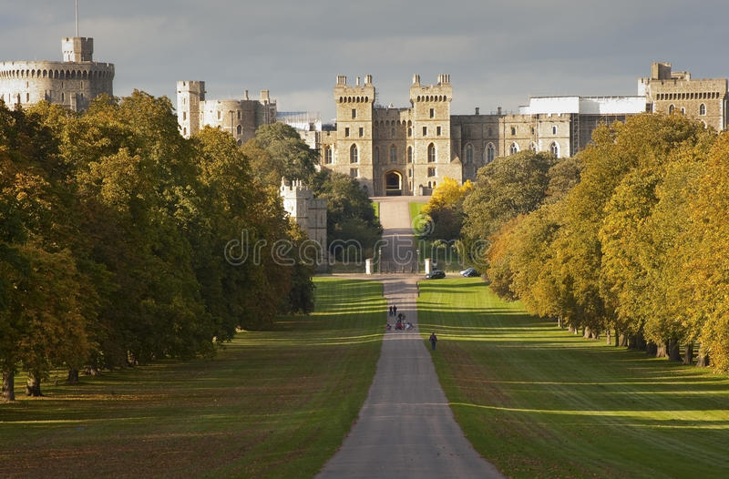 Windsor Castle viewed along Long Walk stock photo