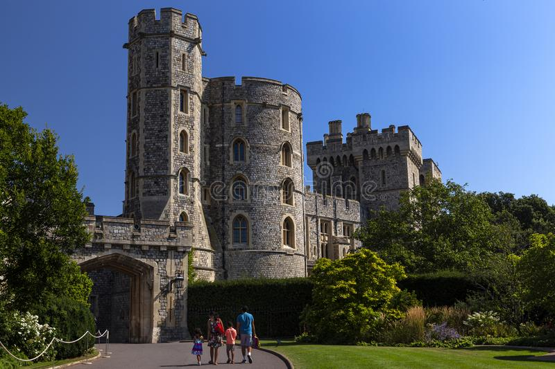 WINDSOR, ENGLAND - AUGUST 26: Outside view of Medieval Windsor Castle on August 26, 2019, Windsor, England. Windsor Castle is a. Royal residence at Windsor in stock photos